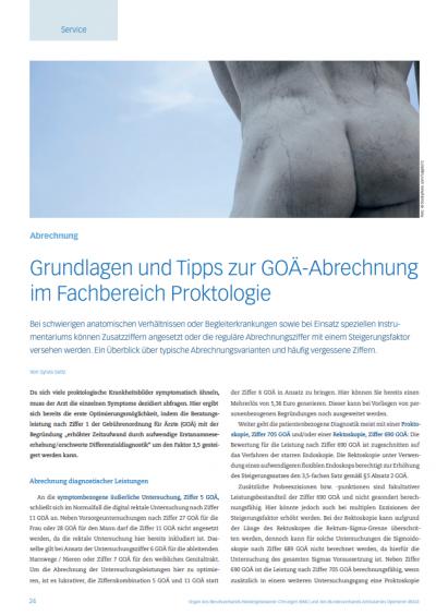 Chirurgen Magazin - Grundlagen und Tipps zur GOÄ-Abrechnung im Fachbereich Proktologie