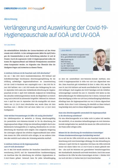Verlängerung und Auswirkung der Covid-19- Hygienepauschale auf GOÄ und UV-GOÄ