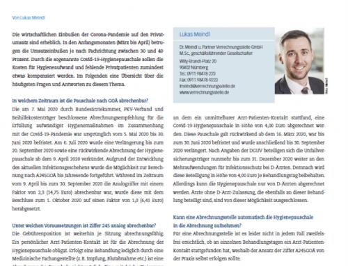 Verlängerung und Auswirkung der Covid-19-Hygienepauschale auf GOÄ und UV-GOÄ
