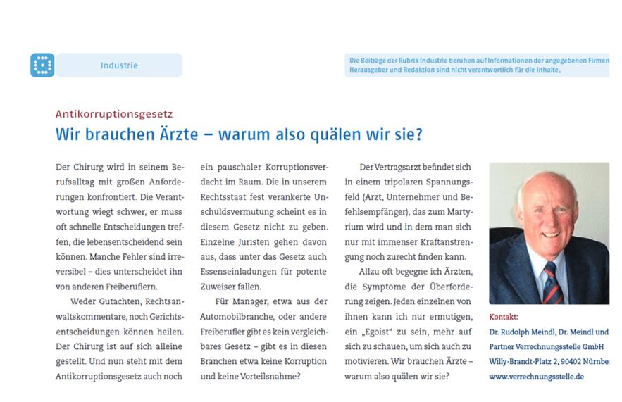 Bild Chirurgen-Magazin Antikorruptionsgesetz von Dr. Meindl u. Partner Verrechnungsstelle