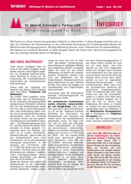 Bild Infobrief 1/2006 Dr. Meindl u. Partner Verrechnungsstelle