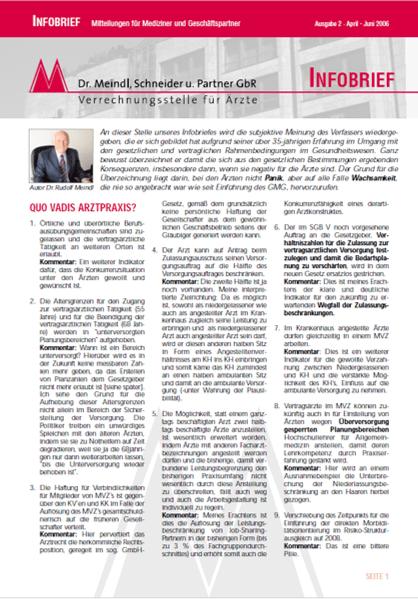 Bild Infobrief 2/2006 Dr. Meindl u. Partner Verrechnungsstelle