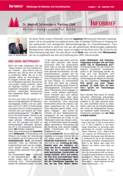 Bild Infobrief 3/2006 Dr. Meindl u. Partner Verrechnungsstelle