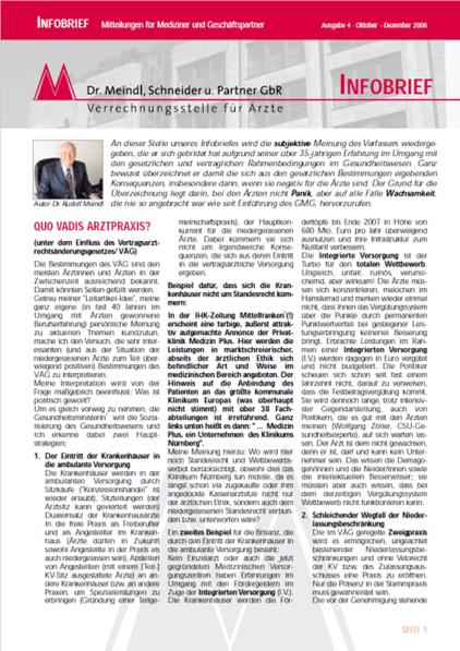 Bild Infobrief 4/2006 Dr. Meindl u. Partner Verrechnungsstelle