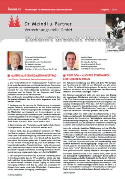 Bild Infobrief 43 Dr. Meindl u. Partner Verrechnungsstelle