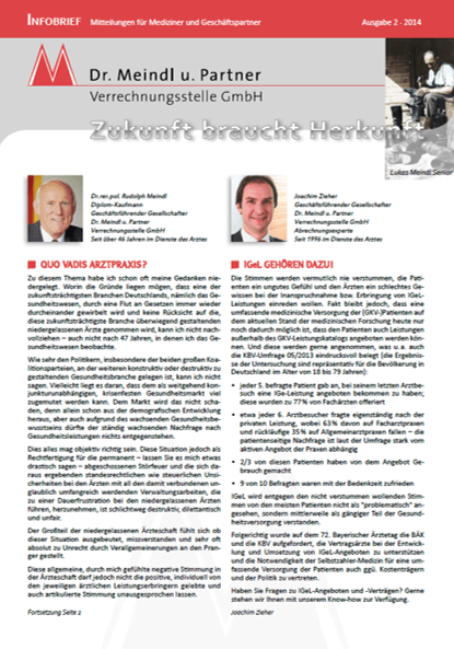Bild Infobrief 44 Dr. Meindl u. Partner Verrechnungsstelle