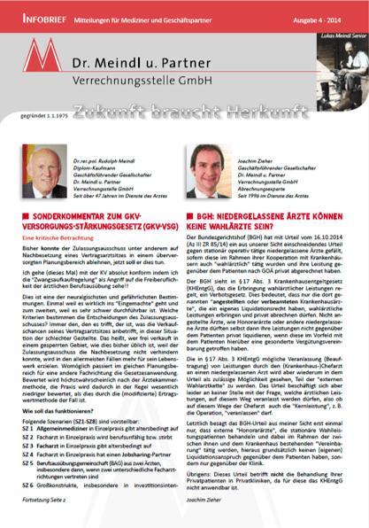Bild Infobrief 46 Dr. Meindl u. Partner Verrechnungsstelle