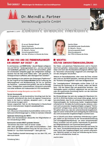 Bild Infobrief 48 Dr. Meindl u. Partner Verrechnungsstelle