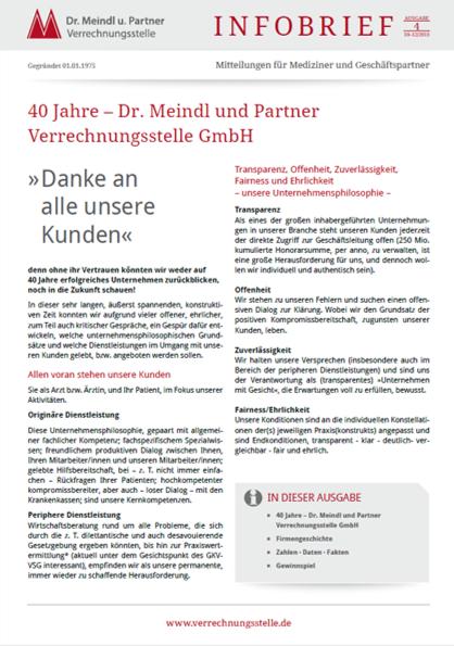 Bild Infobrief 50 Dr. Meindl u. Partner Verrechnungsstelle