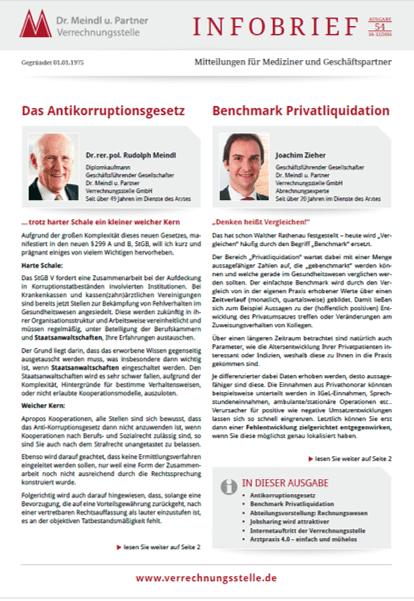 Bild Infobrief 54 Dr. Meindl u. Partner Verrechnungsstelle