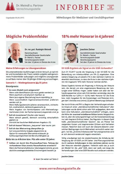 Bild Infobrief 58 Dr. Meindl u. Partner Verrechnungsstelle