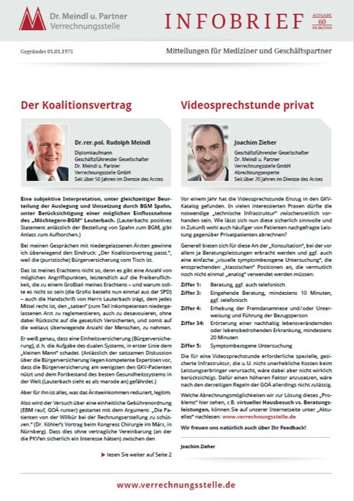 Bild Infobrief 60 Dr. Meindl u. Partner Verrechnungsstelle