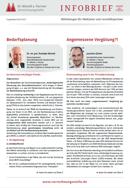 Bild Infobrief 61 Dr. Meindl u. Partner Verrechnungsstelle