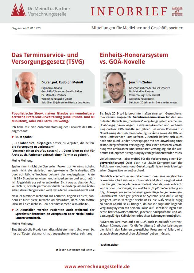 Bild Infobrief 62 Dr. Meindl u. Partner Verrechnungsstelle