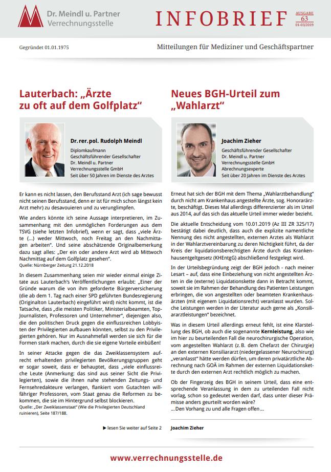 Bild Infobrief 63 Dr. Meindl u. Partner Verrechnungsstelle