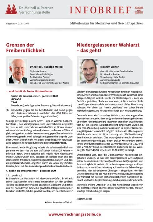 Bild Infobrief 64 Dr. Meindl u. Partner Verrechnungsstelle