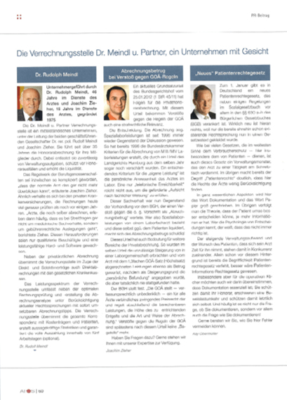 Bild PR-Beitrag Atos-News Ausgabe 24 Dr. Meindl u. Partner Verrechnungsstelle