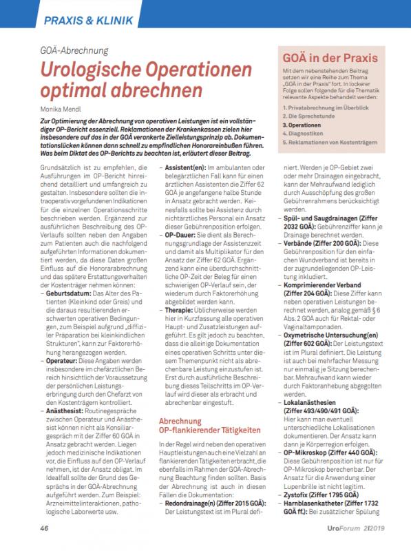 Uroforum Artikel Urologische Operationen optimal abrechnen