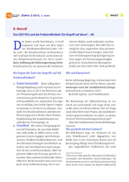 Bild Zeitschrift fuer Ambulante Neurochirurgie Artikel Dr. Meindl